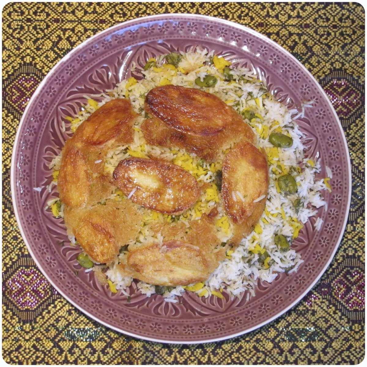persischer Saubohnenreis (Baghali polo) - باقالی پلو