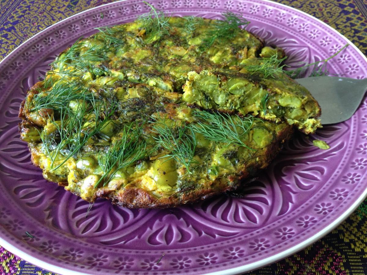 Kookoo Baghali (persisches Omelett mit frischen Favabohnen und Dill) - کوکو باقالی